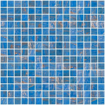Architects Overstock Marbled 0.75 x 0.75 Glass Mosaic Tile in Glossy Blue with gold and copper threads