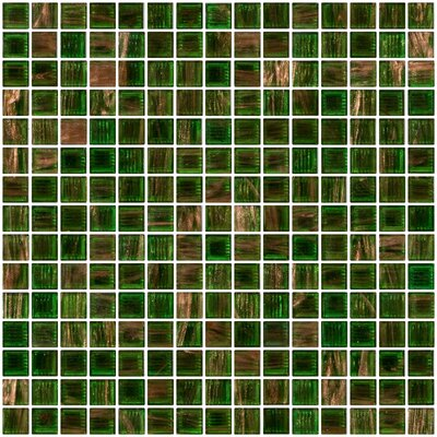 Architects Overstock Marbled 0.75 x 0.75 Glass Mosaic Tile in Glossy Green with gold and copper threads