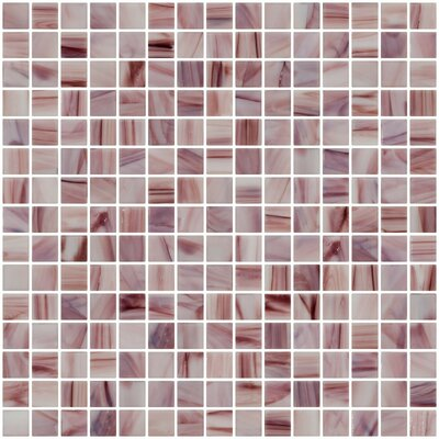 Architects Overstock Marbled 0.75 x 0.75 Glass Mosaic Tile in Glossy Swirled white and dark red
