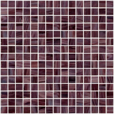 Architects Overstock Marbled 0.75 x 0.75 Glass Mosaic Tile in Glossy Swirled light and dark purple