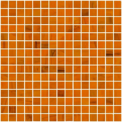 Architects Overstock Marbled 0.75 x 0.75 Glass Mosaic Tile in Rust Orange
