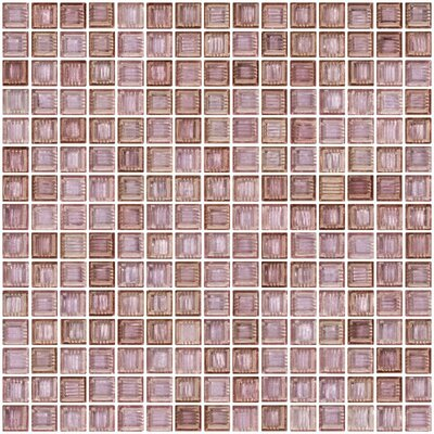 Architects Overstock Marbled 0.75 x 0.75 Glass Mosaic Tile in Polished Pale lavender and purple