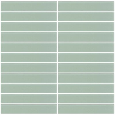 Bijou 16 Frosted 1 x 6 Glass Subway Tile in Light Sage Green