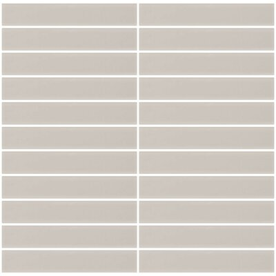 Bijou 16 Frosted 1 x 6 Glass Subway Tile in Creme Bone White