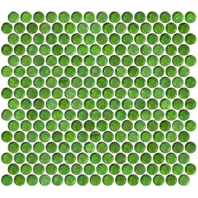 0.75 x 0.75 Glass Mosaic Tile in High-Gloss Green