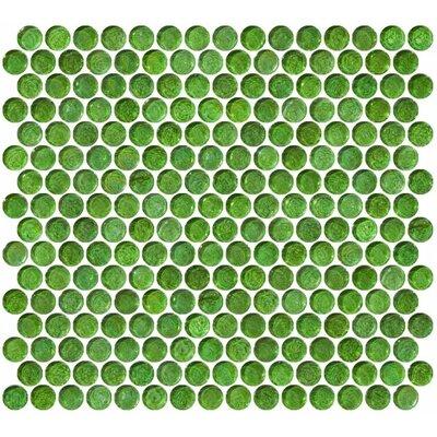 0.75 x 0.75 Glass Mosaic Tile in High-Gloss Green