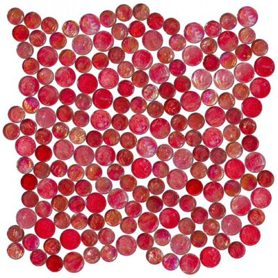 0.75 x 0.75 Glass Mosaic Tile in High-Gloss Red