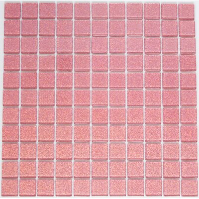 1 x 1 Glass Mosaic Tile in Pink