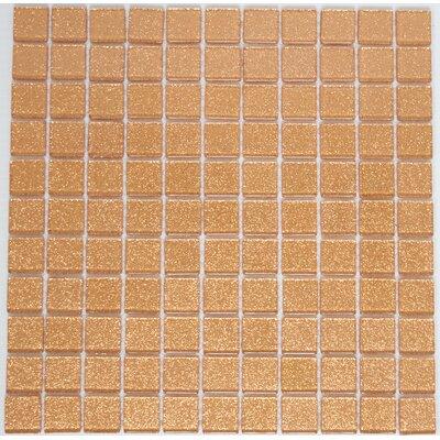 1 x 1 Glass Mosaic Tile in Glossy Light orange
