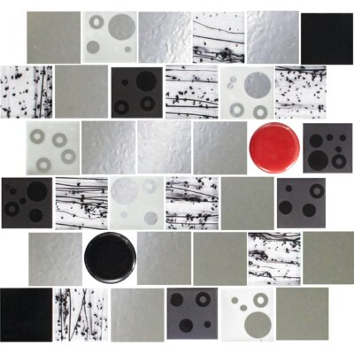 Signature Line Dot 2 x 2 Glass Mosaic Tile in Black/Gray