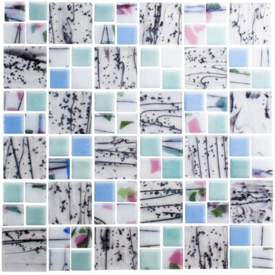 Signature Line Spring Tree Garden 21 x 21 Glass Mosaic Tile in Black/Blue