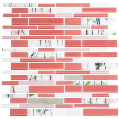 Signature Line Watermelon and Floral Glass Mosaic Tile in Pink
