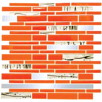 Signature Line Bright Glass Mosaic Tile in Orange