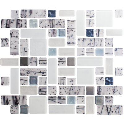 Signature Line Winter Solstice 21 x 21 Glass Mosaic Tile in Gray