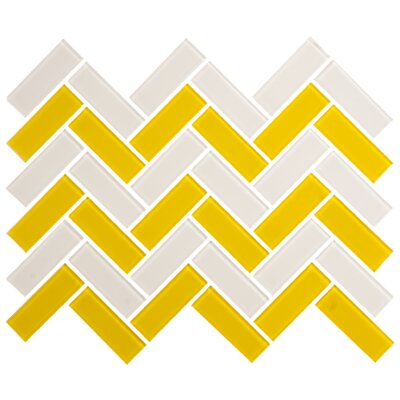 Signature Line Herringbone 1 x 3 Glass Subway Tile in Gray/Yellow