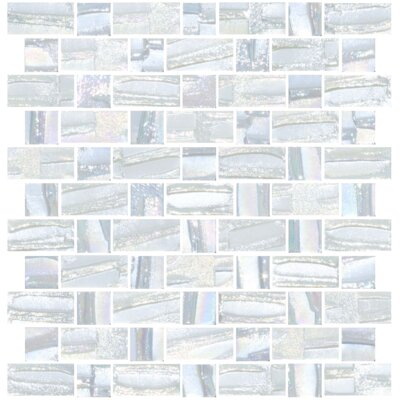 Signature Line Recycled Iridescent Glass Mosaic Tile in Gray/Blue