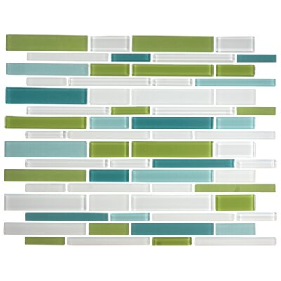 Signature Line Glass Mosaic Tile in Green/Gray/Blue