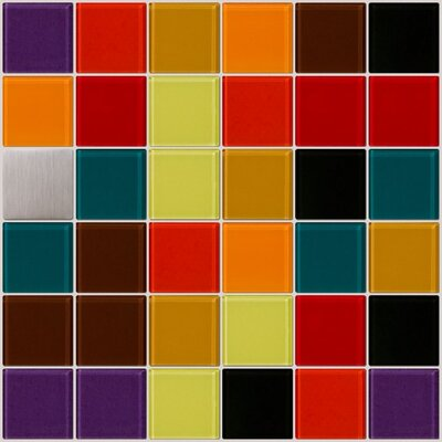 Signature Line Vibrant Kitchen Glass Mosaic Tile in Red/Brown/Green