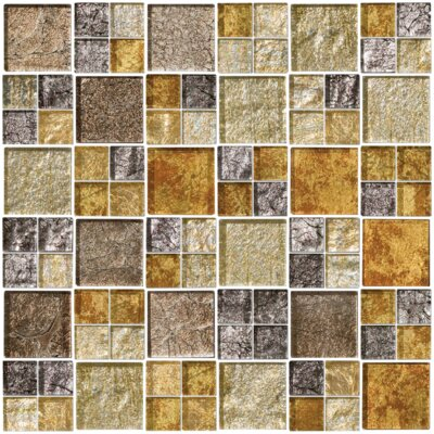 Signature Line Glass Mosaic Tile in Gray/Gold