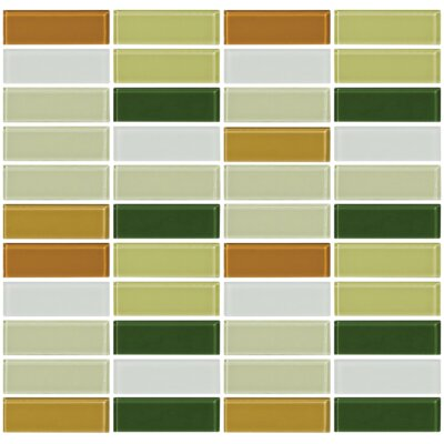 Signature Line Celery 1 x 3 Glass Subway Tile in Green/Brown/Gray