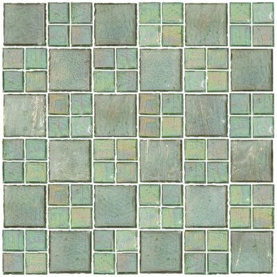 Signature Line Transparent 21 x 21 Glass Mosaic Tile in Green
