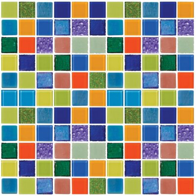 Signature Line Matisse 1 x 1 Glass Mosaic Tile in Green/Blue