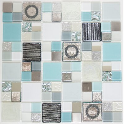 Signature Line 21 x 21 Glass Mosaic Tile in Gray/Blue