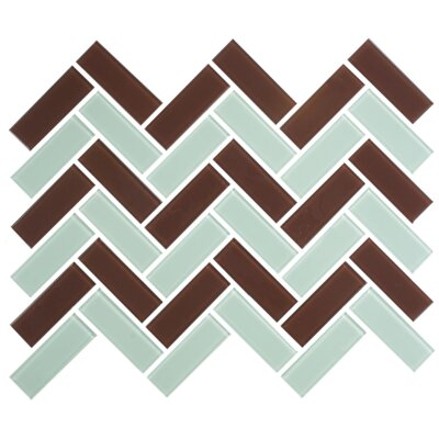 Signature Line Herringbone 1 x 3 Glass Subway Tile in Brown/Aqua