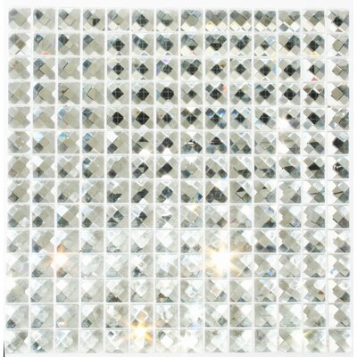 Signature Line Diamond Bling 1 x 1 Glass Mosaic Tile in Gray