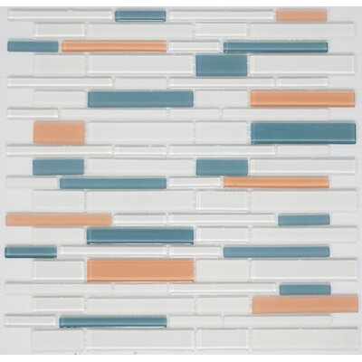 Signature Line Apricot Glass Mosaic Tile in Blue/Orange
