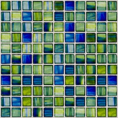 Signature Line 1 x 1 Glass Mosaic Tile in Green/Blue