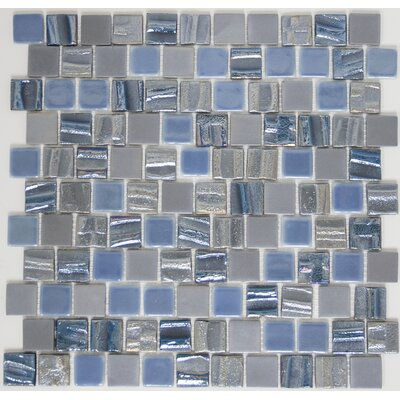 Signature Line 1 x 1 Glass Mosaic Tile in Blue/Gray