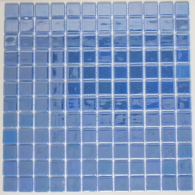 Signature Line 1 x 1 Glass Mosaic Tile in Glossy Blue