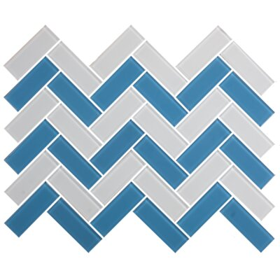 Signature Line Herringbone 1 x 3 Glass Subway Tile in Blue/Gray