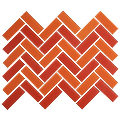 Signature Line Herringbone Tango 1 x 3 Glass Subway Tile in Orange/Red