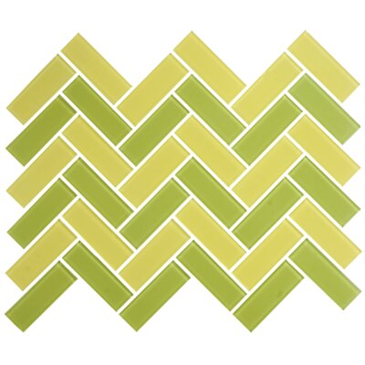 Signature Line Herringbone 1 x 3 Glass Subway Tile in Green/Yellow