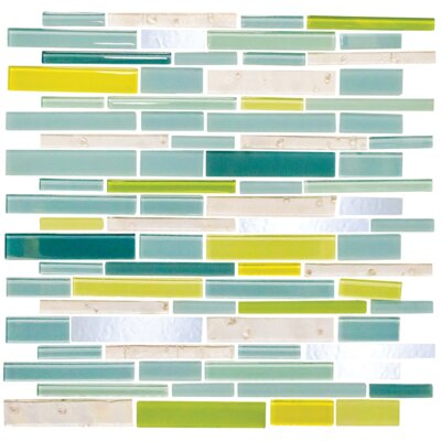 Signature Line Seafoam Glass Mosaic Tile in Green/Yellow/Blue