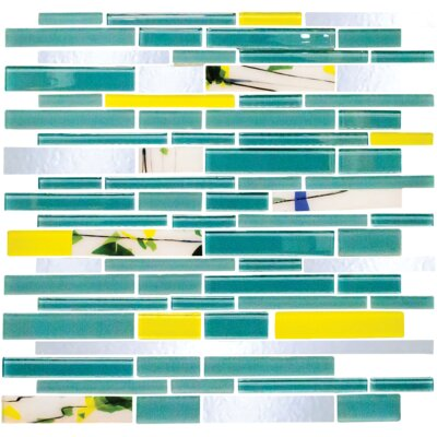 Signature Line Garden Party Series 3 Glass Mosaic Tile in Blue