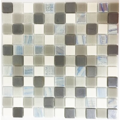 Signature Line 1 x 1 Glass Mosaic Tile in Brown