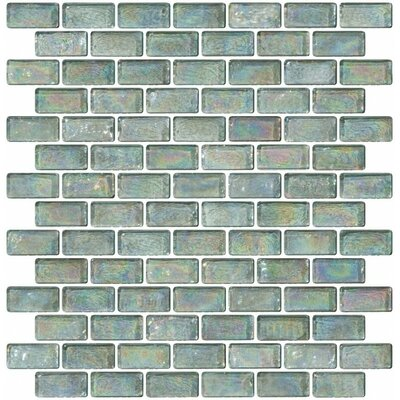 Iridescent 0.75 x 1.5 Glass Subway Tile in Green