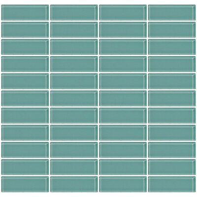 Stacked 1 x 3 Glass Subway Tile in Glossy Green