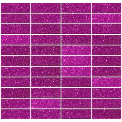 Stacked Glitter 1 x 3 Glass Subway Tile in Glossy Pink