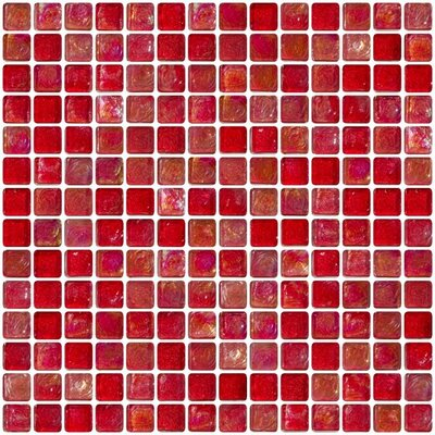 Iridescent 0.75 x 0.75 Glass Mosaic Tile in Red
