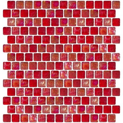 Iridescent Offset 0.75 x 0.75 Glass Mosaic Tile in Red