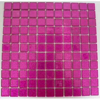 1 x 1 Glass Mosaic Tile in Fuchsia Pink