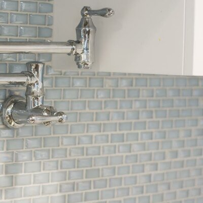 Signature Line 1 x 2 Glass Mosaic Tile in Blue