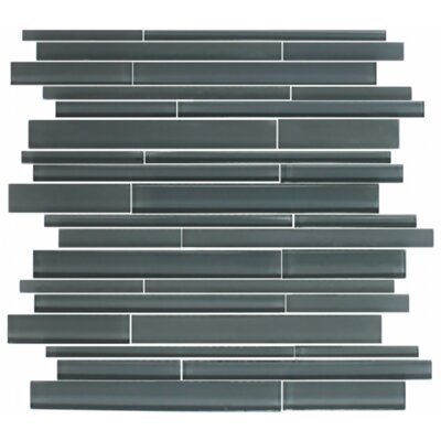 Linear Random Sized Glass Mosaic Tile in Gray