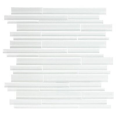 Linear Random Sized Glass Mosaic Tile in White