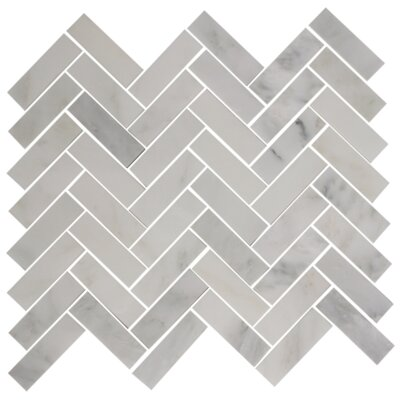 Herringbone 1 x 3 Carrera Marble Mosaic Tile in Gray