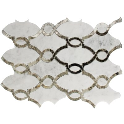 Random Sized Carrara Marble Mosaic Tile in Antique White/Gray